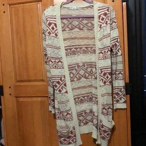 Long Beige and Maroon Cardigan with Pockets